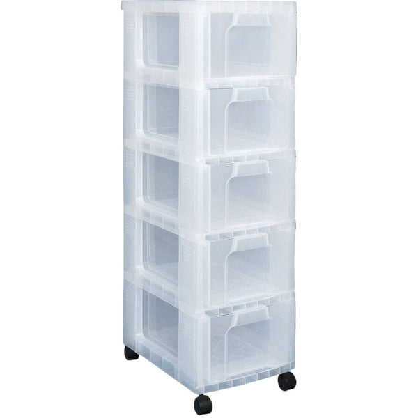 Really Useful Storage Tower 5 x 12 Litre Clear Drawers