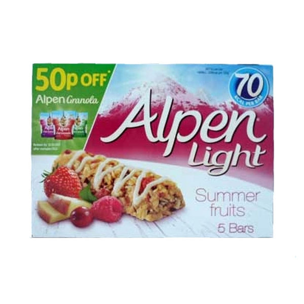 Alpen Light Summer Fruits Bars 5 Pack 95G (Full Pack 10's)