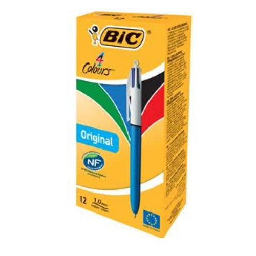 Bic 4-Colour Ballpoint Pen (Pack 12)