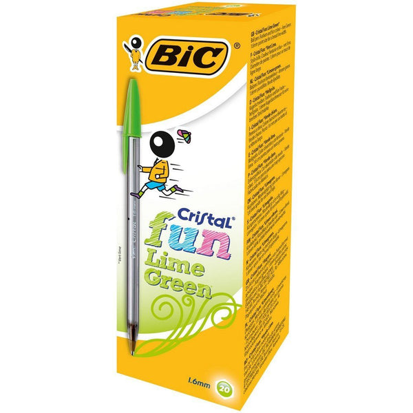 Bic Cristal Fun Ballpoint Lime Green Pens (Pack Of 20)