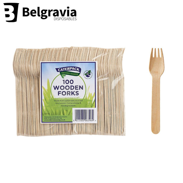 Belgravia Caterpack Wooden Forks Pack 100's