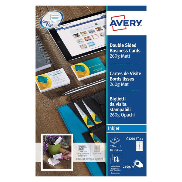 Avery White Matt Double Sided Business Cards Pack 200's