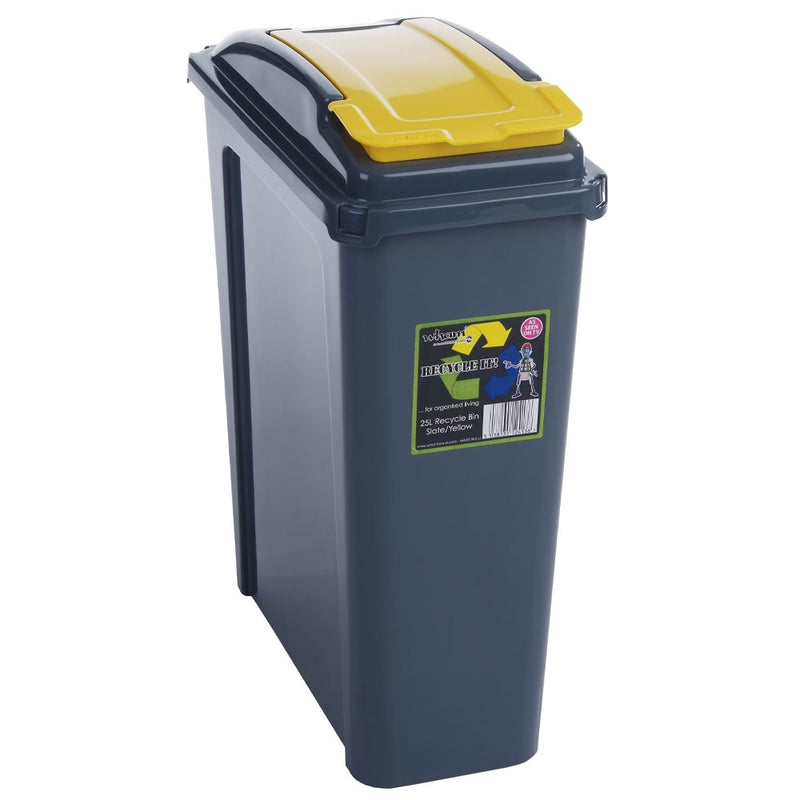 Wham Recycle It Yellow Slimline Bin & Lid 25 Litre