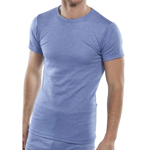 B-Click Workwear Blue Thermal Short Sleeve Vest