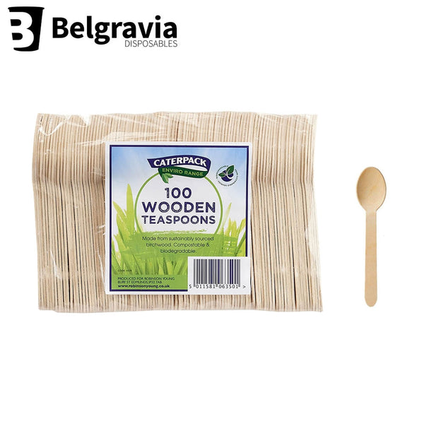Belgravia Caterpack Wooden Tea Spoons Pack 100's