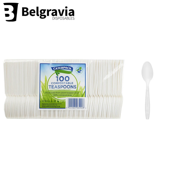 Caterpack White Biodegradable Plastic Teaspoon (Pack of 100)