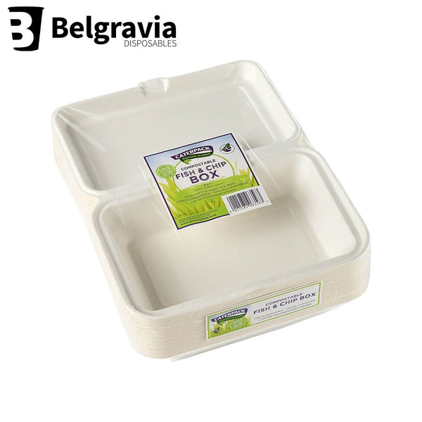 Belgravia Bio Caterpack 6x9inch Fish Chip Boxes Pack 50's