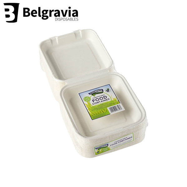 "Belgravia Biodegradable Caterpack 8 x 8"" Food Boxes Pack 50's"
