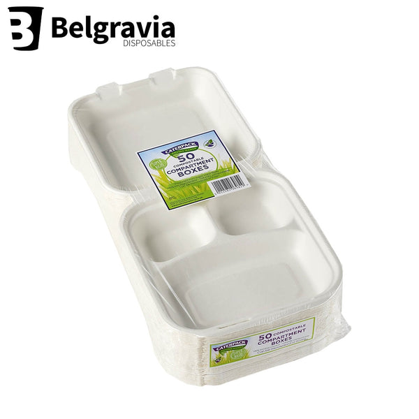 Belgravia Bio Caterpack 8x8inch Compartment Boxes Pack 50's