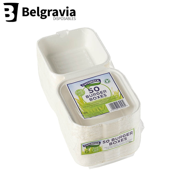 "Belgravia Biodegradable  Caterpack 6 x 6"" Burger Boxes Pack 50's"