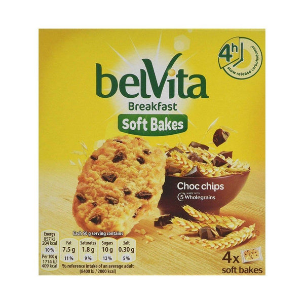 Belvita Breakfast Soft Bakes Choc Chips Pack 4's