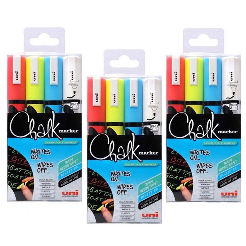 Uni Chalk Markers Medium Assorted Pack 4  1.8 - 2.5mm line width