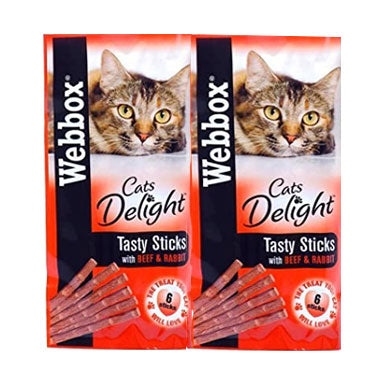 Webbox Cat Treats Tasty Sticks Beef & Rabbit 6 Sticks {12 Packs}