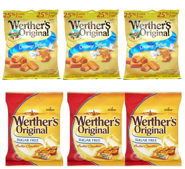 Werther's SUGAR FREE Creamy Toffee/ Butter Candies {6 Mixed OFFER, Wrapped} 6 x 80g