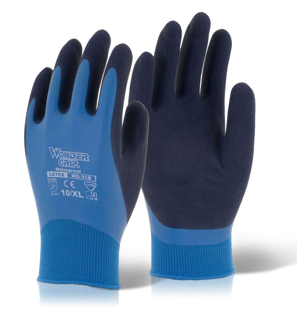 Wonder Grip Aqua Latex Gloves Pair {All Sizes} (6 Pairs)