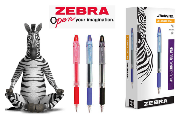 Zebra Jimnie Rollerball Black Medium Gel Pen (Pack 12)