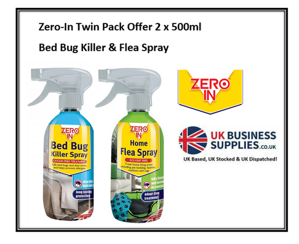Zero-In Twin Pack No1 FLEA SPRAY & Bed Bug Spray 2 x 500ml Offer