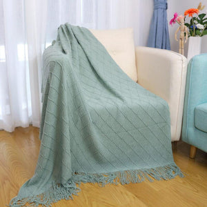 Knitted Sofa Throw Blanket with Tassels| Lightweight Soft Warm Air Condition Couch Blanket