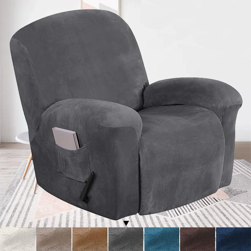 Stretch Velvet 1/4Pieces Recliner Slipcovers