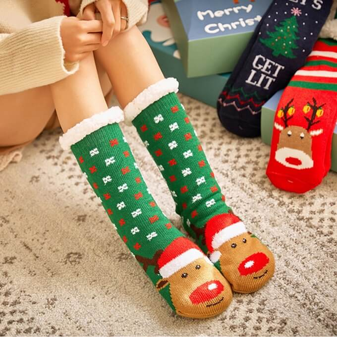 Extra-warm Fleece Indoor Christmas Slipper Socks for Women