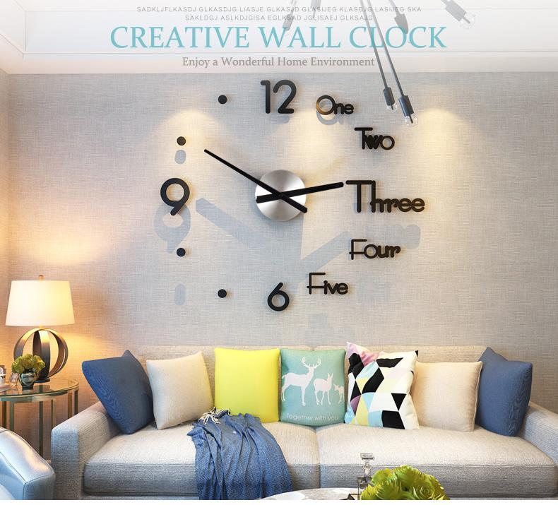 3D Sticker Wall Clock-No Nails Needed