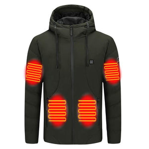 USB Waterproof Hooded Heated Jacket For Men