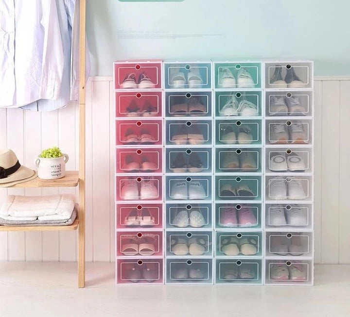 Plastic Drawer Type Stackable Shoe Box Case