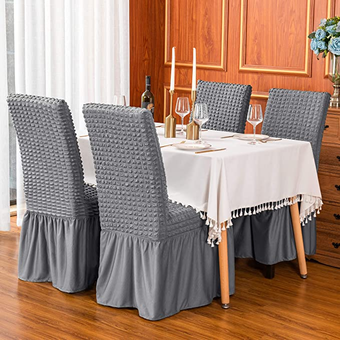 Dining Room Chair Covers with Long Skirt