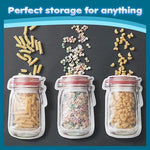 Reusable Mason Jar Shaped Zipper Sealed Bags| Snack Saver Storage Bags