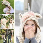 Kids & Adult Unicorn Hat |Crochet Cartoon Unicorn Winter Hat With Scarf Pocket|Christmas Gift for Kids