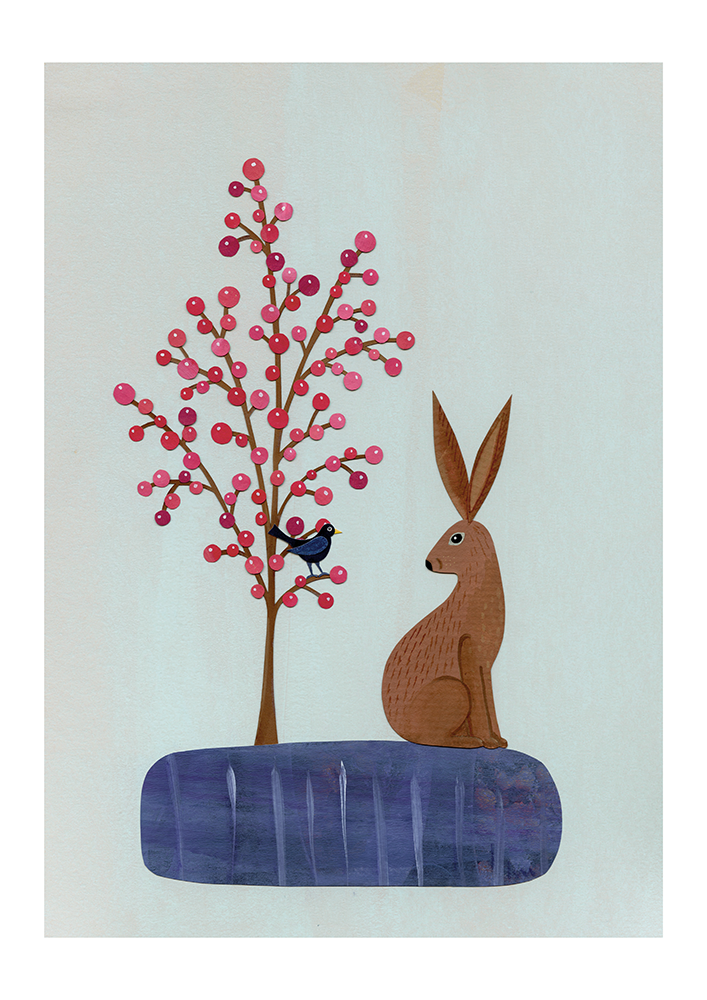 The Hare and the Blackbird - Fine Art Print