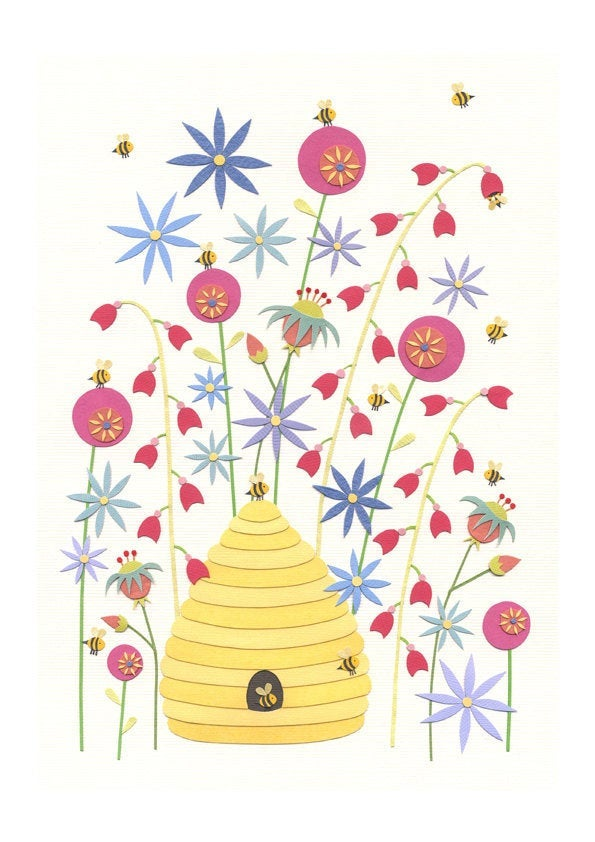 Amongst the Happy Blooms - Beehive Art Print