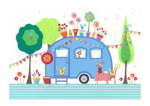 Load image into Gallery viewer, SETTLE - Fine Art Print, Blue Retro Caravan