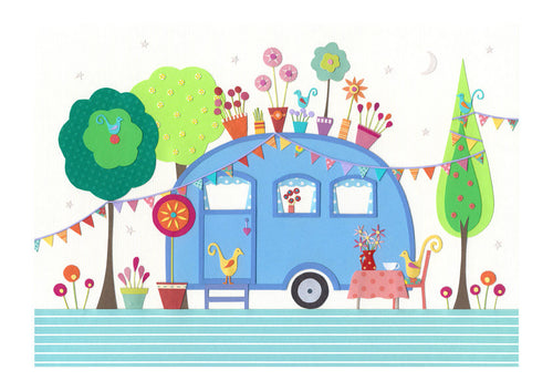 SETTLE - Fine Art Print, Blue Retro Caravan