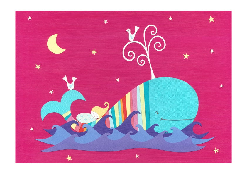 The Midnight Whale - Nursery Fine Art Print