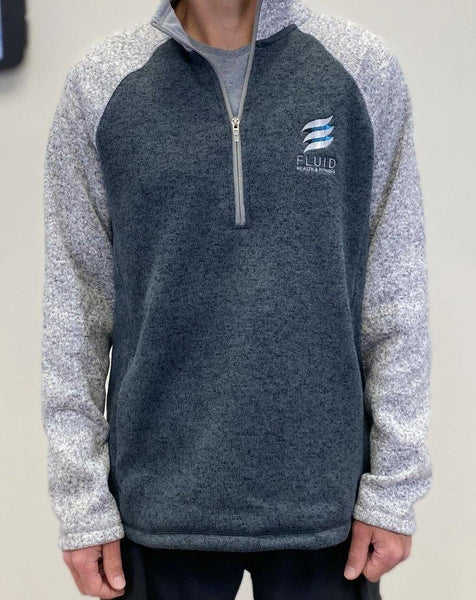 Men's Quarter Zip Color Blocked Grey Heathered Fleece