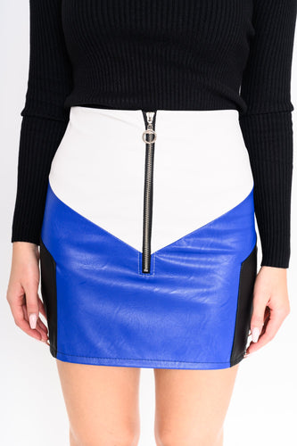 Skirt leather look Blue