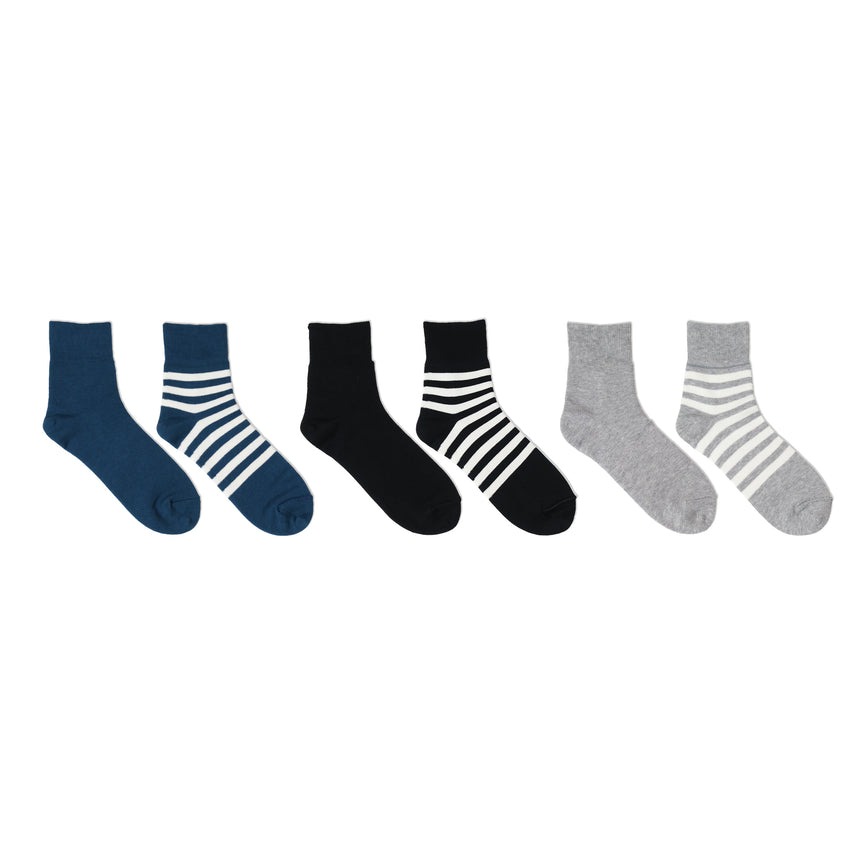 Reversible short socks / Plain×Stripes -Limited color-