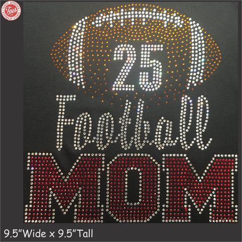 """Football Mom 3"" Rhinestone T-Shirt"