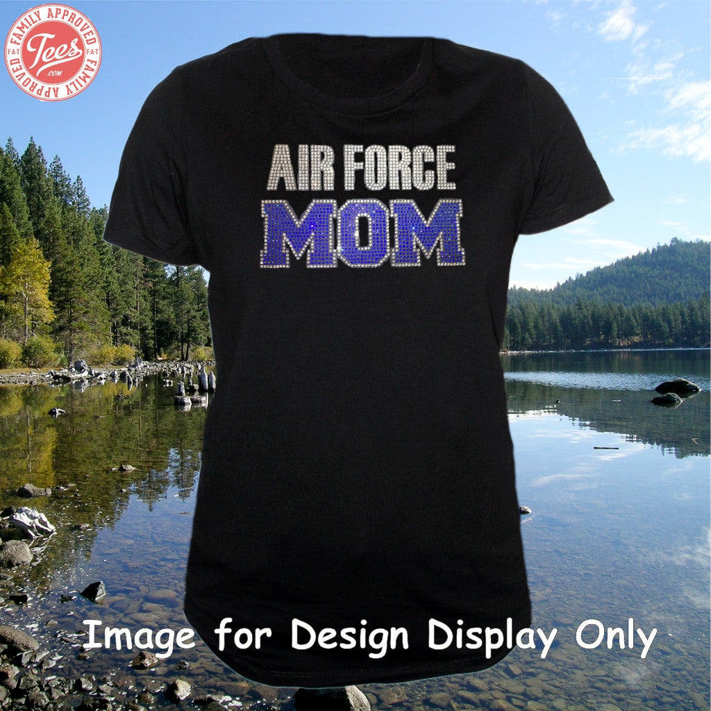 """Air Force Mom 1"" Rhinestone Tee"