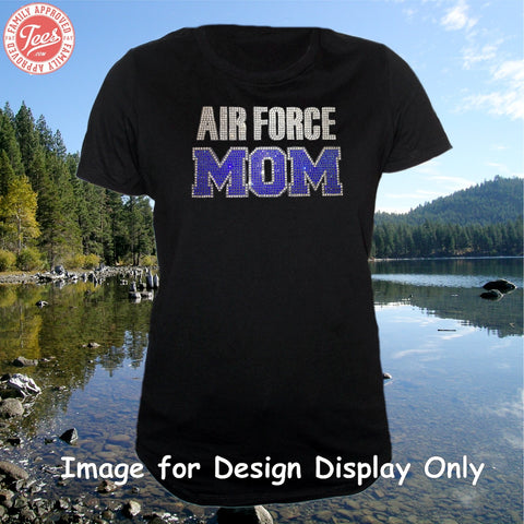 """Air Force Mom 1"" Rhinestone T-Shirt"