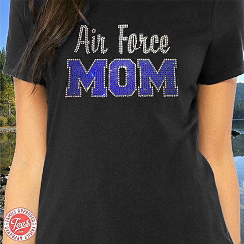 """Air Force Mom"" Rhinestone T-Shirt"
