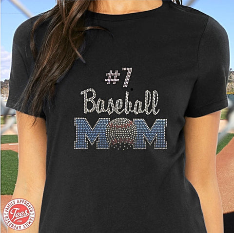 """Baseball Mom 2"" Rhinestone T-Shirt"