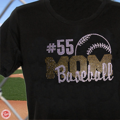 """Baseball Mom 12"" Rhinestone T-Shirt"
