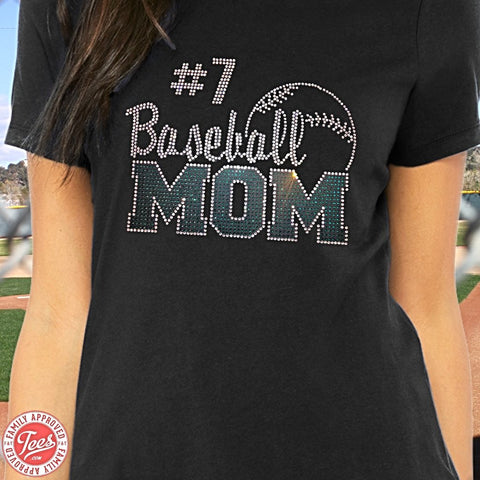 """Baseball Mom"" Rhinestone T-Shirt"