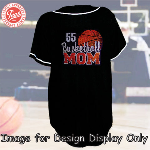 """Basketball Mom 4"" Rhinestone Jersey"