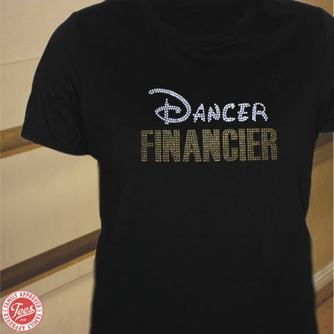"""Dancer Financier"" Rhinestone T-Shirt"