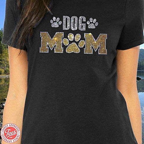 """Dog Mom"" Rhinestone T-Shirt"