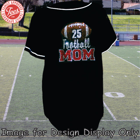 """Football Mom 3"" Rhinestone Jersey"
