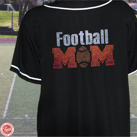 """Football Mom"" Rhinestone Jersey"